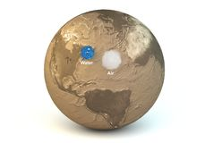 Comparison of the water and air masses of the planet Earth. This is rendering 3D of the comparison of the water and air masses of the planet Earth with captions Royalty Free Stock Photo