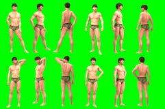 Collection of poses of young male figures. Rendering 3D di una serie di foto di maschere su sfondo chroma key stock photos