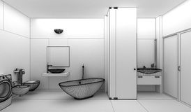 Rendering 3D of a modern bathroom interior design Royalty Free Stock Photos