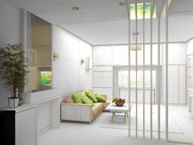 Rendering 3D of white living room interior stock photos