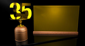 Rendering 3D Wooden trophy with number 35 in gold and golden plate with space to write on mirror table in black background Stock Photos