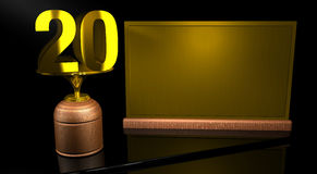 Rendering 3D Wooden trophy with number 20 in gold and golden plate with space to write on mirror table in black background. Commemorative Trophy number 20 for Royalty Free Stock Photography