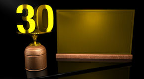 Rendering 3D Wooden trophy with number 30 in gold and golden plate with space to write on mirror table in black background. Commemorative Trophy number 30 for Royalty Free Stock Photography