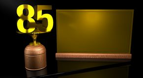 Rendering 3D Wooden trophy with number 85 in gold and golden plate with space to write on mirror table in black background. Commemorative Trophy number 85 for Stock Photo