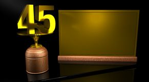 Rendering 3D Wooden trophy with number 45 in gold and golden plate with space to write on mirror table in black background. Commemorative Trophy number 45 for Royalty Free Stock Photography