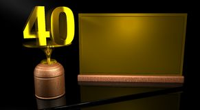 Rendering 3D Wooden trophy with number 40 in gold and golden plate with space to write on mirror table in black background. Commemorative Trophy number 40 for Royalty Free Stock Image