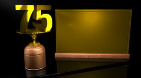 Rendering 3D Wooden trophy with number 75 in gold and golden plate with space to write on mirror table in black background. Commemorative Trophy number 75 for Royalty Free Stock Images