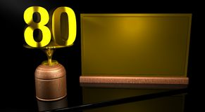 Rendering 3D Wooden trophy with number 80 in gold and golden plate with space to write on mirror table in black background. Commemorative Trophy number 80 for Stock Photography