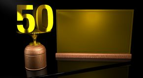 Rendering 3D Wooden trophy with number 50 in gold and golden plate with space to write on mirror table in black background. Commemorative Trophy number 50 for Royalty Free Stock Photo