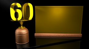 Rendering 3D Wooden trophy with number 60 in gold and golden plate with space to write on mirror table in black background. Commemorative Trophy number 60 for Royalty Free Stock Photos