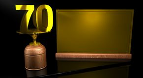 Rendering 3D Wooden trophy with number 70 in gold and golden plate with space to write on mirror table in black background. Commemorative Trophy number 70 for Stock Image