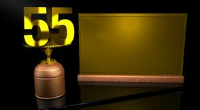 Rendering 3D Wooden trophy with number 55 in gold and golden plate with space to write on mirror table in black background. Commemorative Trophy number 55 for Stock Photos