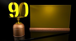 Rendering 3D Wooden trophy with number 90 in gold and golden plate with space to write on mirror table in black background. Commemorative Trophy number 90 for Stock Images