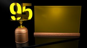Rendering 3D Wooden trophy with number 95 in gold and golden plate with space to write on mirror table in black background. Commemorative Trophy number 95 for Stock Photography