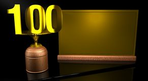 Rendering 3D Wooden trophy with number 100 in gold and golden plate with space to write on mirror table in black background. Royalty Free Stock Images