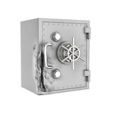 Rendering of damaged safe box isolated on white background. 3d rendering of a damaged safe box isolated on a white background. Attempting to crack. Using brute Stock Photos