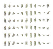 Rendering of dollar bills rotating freely around its axles isolated on white background. 3d rendering of dollar bills rotating freely around its axles isolated Stock Photo