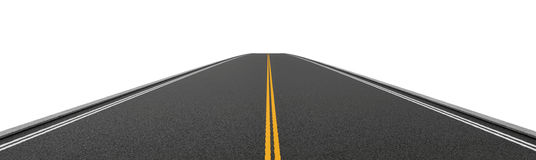 Rendering of empty two-way asphalt road going straight and disappearing into distance. 3d rendering of an empty two-way asphalt road going straight and Stock Image