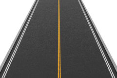 Rendering of empty two-way road covered with asphalt going straight, isolated on white background. Stock Image
