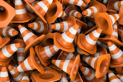Rendering endless pile of fraffic cones Stock Images