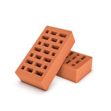 Rendering of face bricks isolated on white background Stock Photo