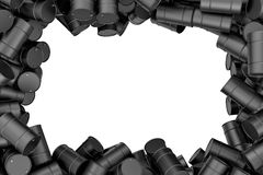 Rendering frame of black oil barrels situated around white background. 3d rendering frame of black oil barrels situated around white background. 3d rendering and Royalty Free Stock Images