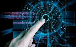 Rendering of a futuristic cyber background target and finger ind Stock Image