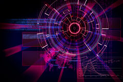 Rendering of a futuristic cyber background target with laser lig Royalty Free Stock Photos