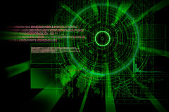 Rendering of a futuristic cyber background target with laser lig Royalty Free Stock Image