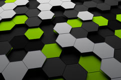 Rendering of Futuristic Surface with Hexagons Stock Images