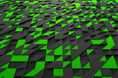 Rendering of Futuristic Surface with Triangles. Abstract 3d rendering of black and green futuristic surface with triangles. Sci-fi background Royalty Free Stock Images