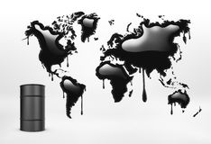 Rendering of geographical mapcolored in black and oil barrel on the white background. 3d rendering of geographical mapcolored in black and a oil barrel on the vector illustration