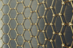 Rendering gold nanotechnology hexagonal geometric form close-up, concept graphene atomic structure,   molecular Royalty Free Stock Image