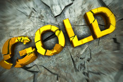 Rendering of a gold text shatterd on the floor Royalty Free Stock Image