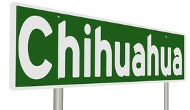 Rendering of a green highway sign for Chichuahua royalty free stock image