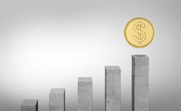 Rendering of grey columns standing in ascending order and a coin above the highest one. 3d rendering of grey columns standing in ascending order and a coin above Stock Photos