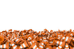 Rendering heap of road cones lying each on other. 3d rendering of heap of road cones lying each on other at the bottom of the white background. Transport and Royalty Free Stock Photos