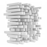 Rendering high tech construction made of square tubes on white background. 3d rendering of high tech construction made of cubes on white background. Cubes block Royalty Free Stock Photo