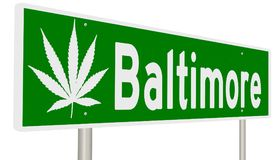 Baltimore highway sign with marijuana leaf. A rendering of a highway sign for Baltimore with a marijuana leaf royalty free stock photo