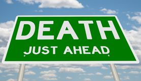 Green Death Just Ahead. Rendering of a highway sign Death Just Ahead royalty free illustration