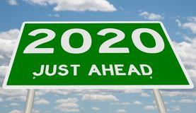 Green 2020 Just Ahead. Rendering of a highway sign 2020 Just Ahead stock illustration
