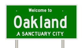 Rendering of highway sign for sanctuary city Oakland stock photo