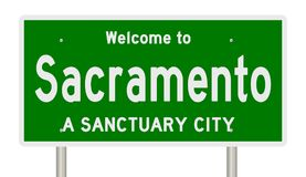 Rendering of highway sign for sanctuary city Sacramento. A 3d rendering of a green highway sign showing Sacramento sanctuary city Royalty Free Stock Images