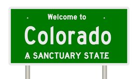 Rendering of highway sign for sanctuary state Colorado vector illustration