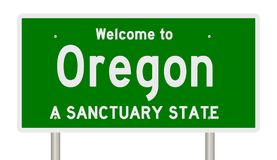 Rendering of highway sign for sanctuary state Oregon stock photography