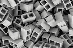 Rendering huge amount of gray cinder blocks lying together in disorder, top view. 3d rendering of a huge amount of gray cinder blocks lying together in disorder Stock Photos