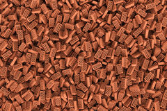 Rendering huge amount of red face bricks lying together in disorder, top view. 3d rendering of a huge amount of red face bricks lying together in disorder, top Stock Photo