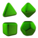 Rendering image of polyhedron covered with fur. 3D illustration.  four elements. Royalty Free Stock Image