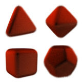 Rendering image of polyhedron covered with fur. 3D illustration.  four elements. Stock Photography