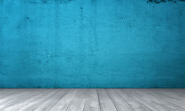 Rendering of interior with blue concrete wall and wooden floor. stock image